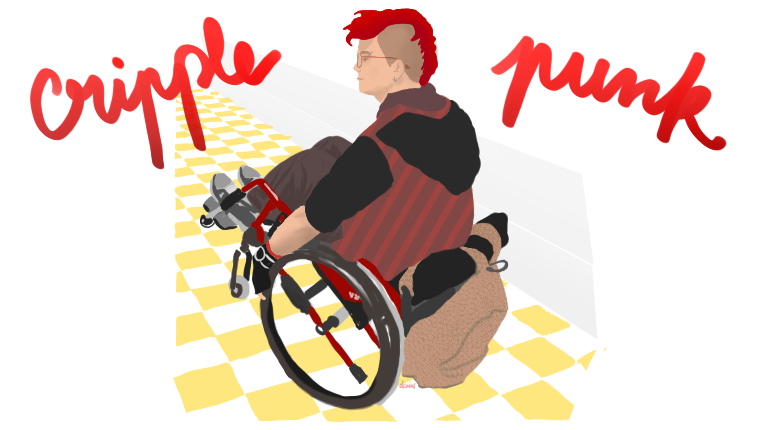 """dessin par dcaius : un homme en fauteuil roulant à crête rouge qui fait une roue arrière, les mots """"cripple punk"""" de part et d'autre"""