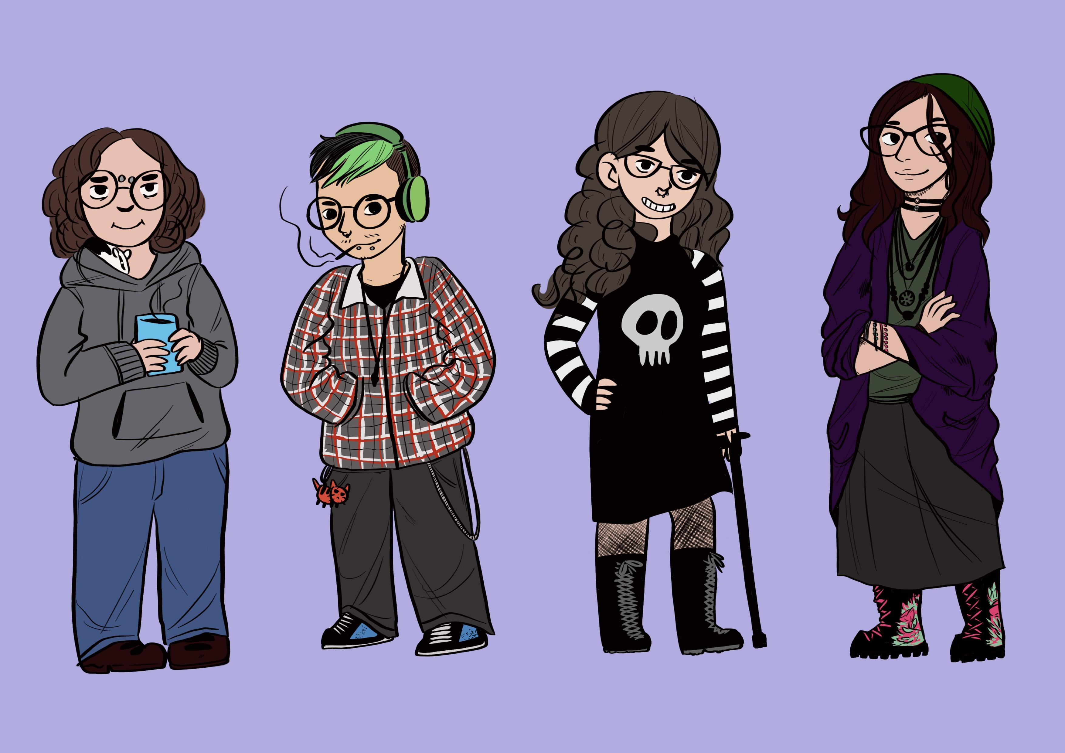 dessin par Calvin Arium de quatres personnes autistes